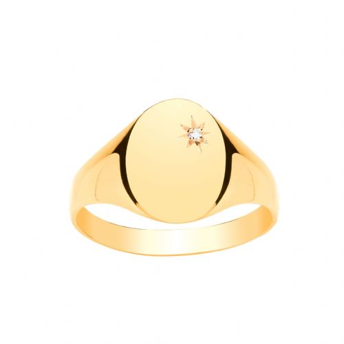 Yellow Gold Gents Diamond Set Oval Signet Ring